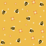 Bee background. Bees and flowers over yellow background Royalty Free Stock Image