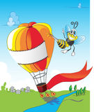 Bee and balloon. This is a Bee and balloon Royalty Free Stock Image