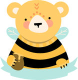 Bee Bear Blank Caption Royalty Free Stock Image