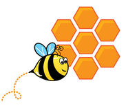 Bee and a bee hive. Funny cute cartoon bee flying in front of a orange bee hive stock illustration