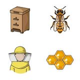 The bee, the bee-keeper in the mask, the honeycomb of the honey.Apiary set collection icons in cartoon style vector Stock Photos