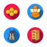 The bee, the bee-keeper in the mask, the honeycomb of the honey.Apiary set collection icons in flat style vector symbol Stock Images