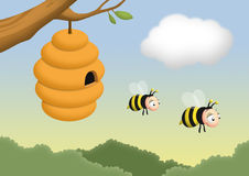 Bee and Beehive. Beehive on a tree with bees leaving it stock illustration