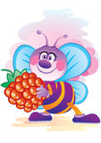 Bee with a berry Royalty Free Stock Photography