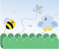 Bee and bird card Royalty Free Stock Photo