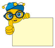 Bee with blank banner. Face of happy bee boy in cool cap and glasses show gesture cool and peek up from the clean plate royalty free illustration