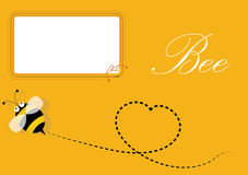 Blank frame and bee. Bee and blank frame, Yellow background Stock Photography
