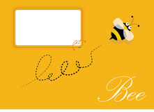 Blank frame and bee. Bee and blank frame, Yellow background Royalty Free Stock Photo