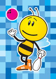 Bee Bowler. Vector Bee Bowler on blue background Royalty Free Stock Photos