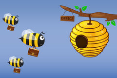 Bee with briefcase flies to work. Illustration Stock Image