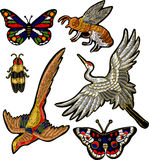 Bee, butterfly, beetle, crane bird stickers embroidery textile design Royalty Free Stock Photos