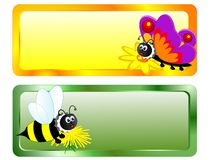 Bee and butterfly Stock Photo