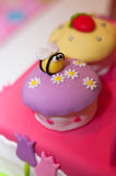 Bee on Cake stock images