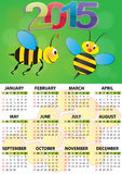 2015 bee calendar. Illustration of 2015 calendar for children Royalty Free Illustration