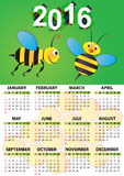 2016 bee calendar. Illustration of 2016 calendar for children stock illustration