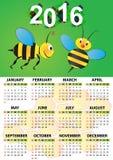 2016 bee calendar Royalty Free Stock Photos
