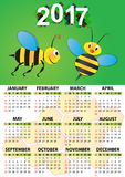 2017 bee calendar. Illustration of 2017 calendar for children Stock Photography