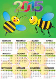 2015 bee calendar. Illustration of 2015 calendar for children in italian Stock Illustration