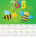 2016 bee calendar. Illustration of 2016 calendar for children in italian stock illustration