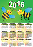 2016 bee calendar Royalty Free Stock Images