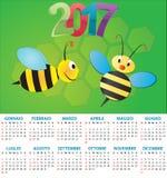 2017 bee calendar. Illustration of 2017 calendar for children in italian Royalty Free Stock Images
