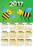 2017 bee calendar. Illustration of 2017 calendar for children in italian Stock Photos
