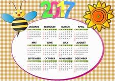 2017 bee calendar. Illustration of 2017 bee and sunflower calendar for children Stock Photo