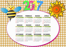 2017 bee calendar. Illustration of 2017 bee and sunflower calendar for children in italian Royalty Free Stock Photography