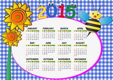 2015 bee calendar. 2015 bee and sunflower calendar for children Royalty Free Illustration