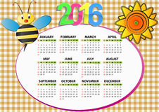 2016 bee calendar. 2016 bee and sunflower calendar for children stock illustration