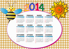 2014 bee calendar. 2014 bee and sunflower calendar for children in italian Royalty Free Stock Photos