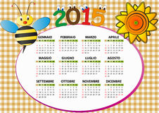 2015 bee calendar. 2015 bee and sunflower calendar for children in italian Vector Illustration