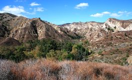 Bee Canyon Geology Panorama. Geology in Bee Canyon, San Fernando Valley, California Royalty Free Stock Photography
