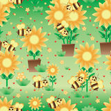 Bee care flower cartoon seamless pattern. This illustration is bee care flower decoration with ladybug and love in green color background seamless pattern Royalty Free Stock Image