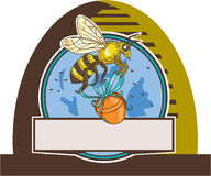 Bee Carrying Honey Pot Skep Circle Drawing. Drawing sketch style illustration of a worker honey bee carrying a honey pot with ribbon viewed from the side set Stock Photo