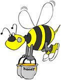 Bee carrying pots of honey. A bee flying while carrying two pots of honey Stock Images