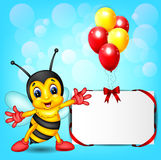 Bee cartoon with balloon Royalty Free Stock Photos