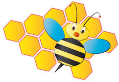 Bee cartoon with beehive Royalty Free Stock Images