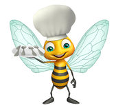 Bee cartoon character  with chef hat and dinner plate Stock Photography