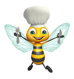 Bee cartoon character with chef hat and spoons Royalty Free Stock Photography