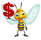 Bee cartoon character with doller sign. 3d rendered illustration of Bee cartoon character with doller sign Royalty Free Stock Image