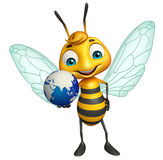Bee cartoon character with earth Stock Image