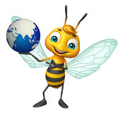 Bee cartoon character with earth Royalty Free Stock Image