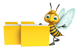 Bee cartoon character with folder Stock Photography