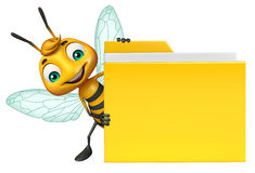 Bee cartoon character with folder Royalty Free Stock Photography