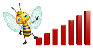Bee cartoon character with graph Stock Photo