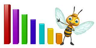 Bee cartoon character with graph Royalty Free Stock Photography