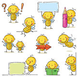 Bee cartoon character. A little bee cartoon character in different poses with signs and objects stock illustration