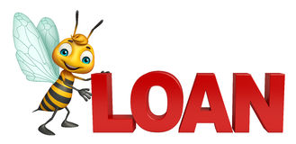 Bee cartoon character with loan sign. 3d rendered illustration of Bee cartoon character with loan sign Stock Photo