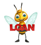Bee cartoon character with loan sign. 3d rendered illustration of Bee cartoon character with loan sign Stock Images